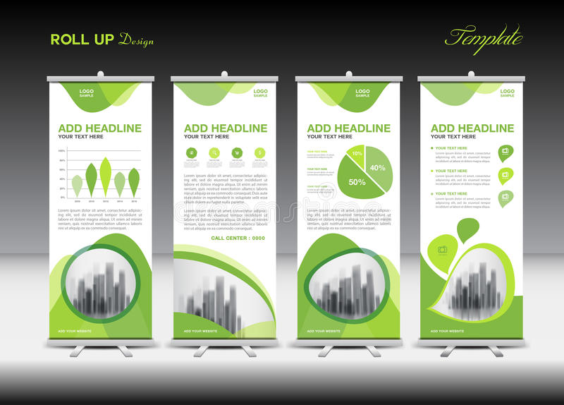 Vert enroulez le calibre de bannière et l'infographics, conception de support illustration libre de droits