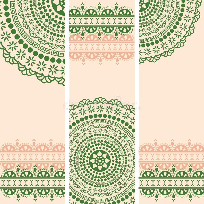 Vert et bannières orientales de verticale de mandala de henné de crème illustration stock