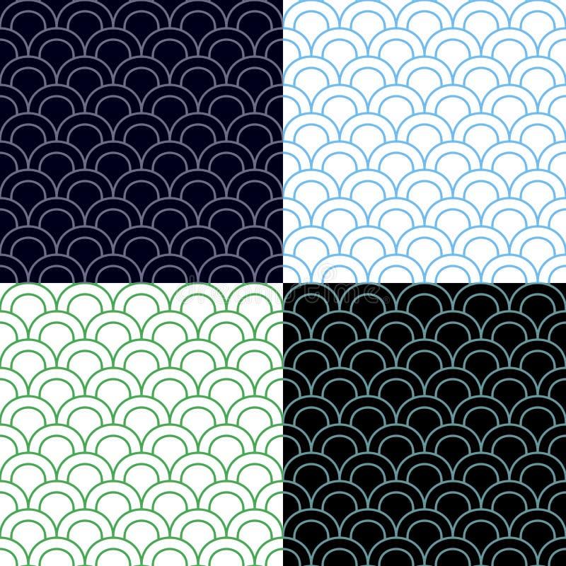 Vert et bleu mesure l'ensemble sans couture de modèle illustration libre de droits