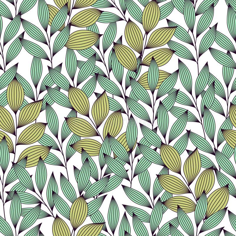 Vert et feuilles élégantes de turquoise avec des veines modèle sans couture, vecteur illustration stock