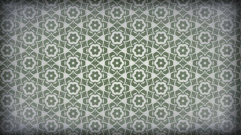 Vert et fond de Grey Vintage Decorative Floral Pattern illustration libre de droits