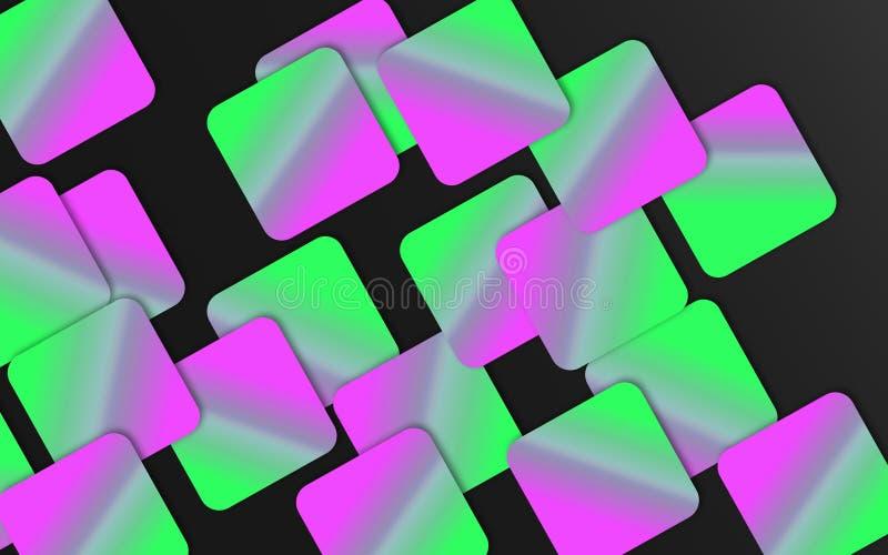 Vert et fond de recouvrement rose de places - les formes géométriques abstraites wallpaper illustration de vecteur