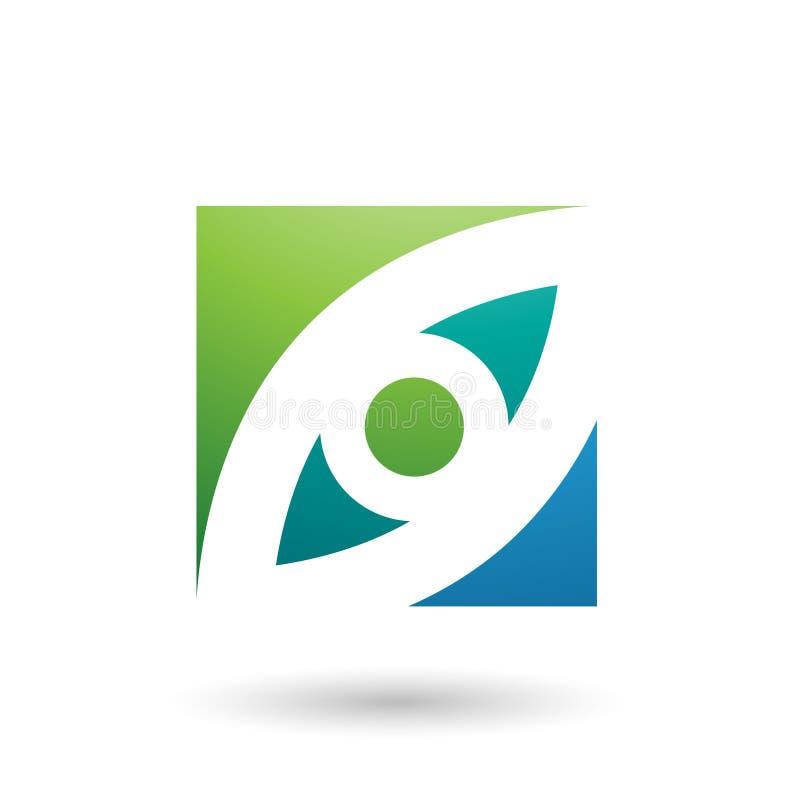 Vert et illustration carrée de vecteur formée par oeil bleu photo stock