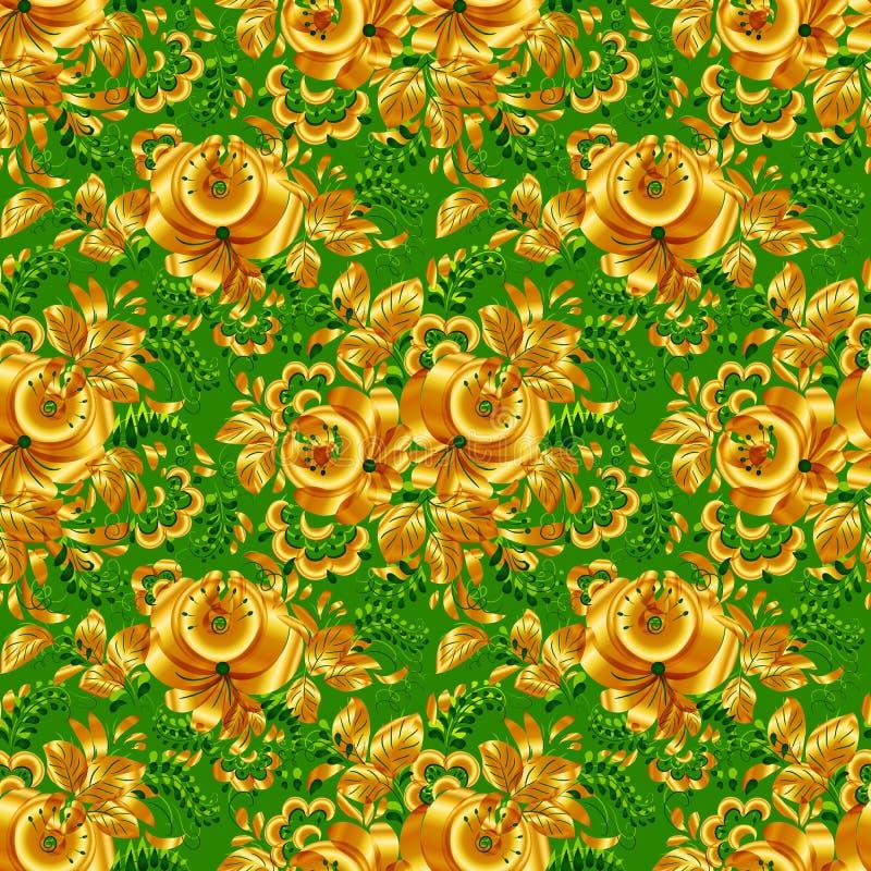 Vert et modèle sans couture floral d'or illustration de vecteur