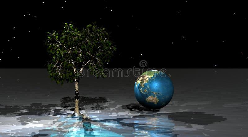 Vert et monde d'arbre illustration libre de droits