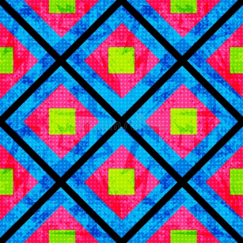 Vert et rose sur un fond bleu des polygones Configuration géométrique sans joint Effet grunge illustration stock