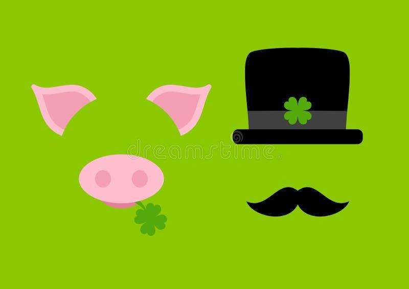 Vert graphique abstrait de balayeuse de porc et de cheminée illustration stock