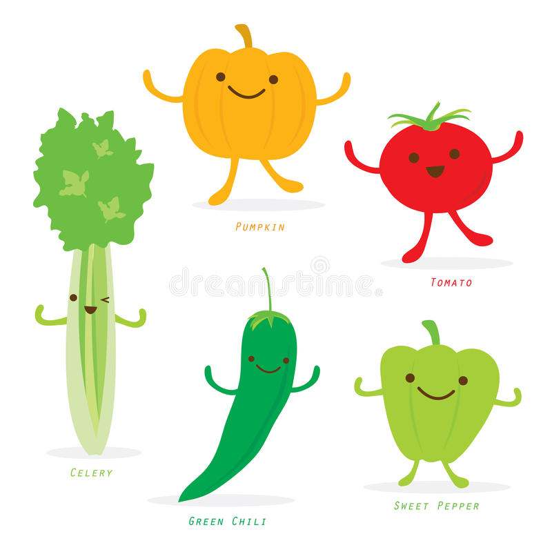 Vert mignon Chili Sweet Pepper Celery Vector de tomate de potiron d'ensemble de bande dessinée végétale illustration de vecteur