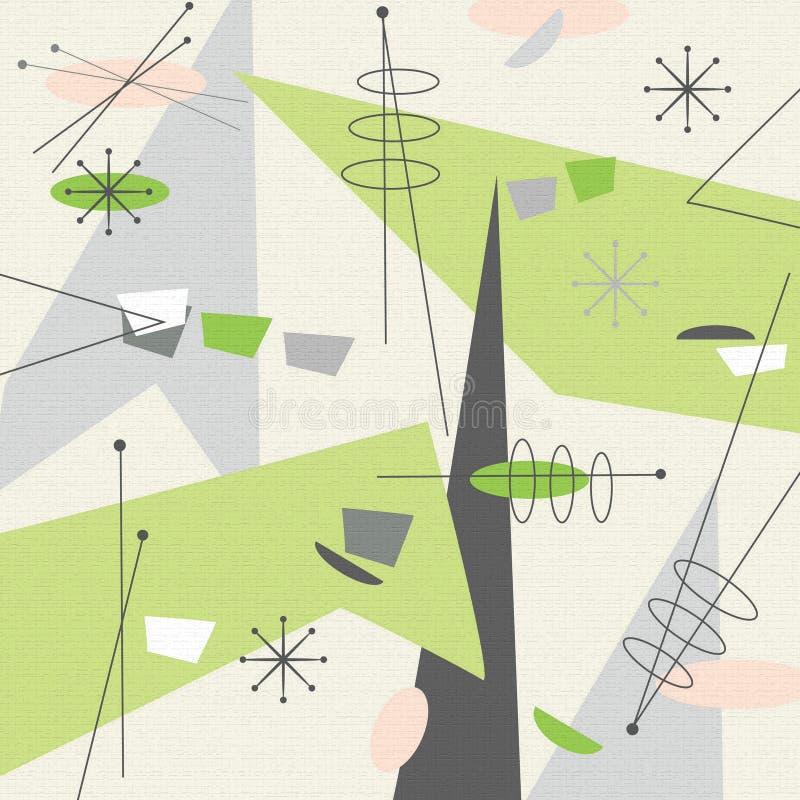 Vert moderne de fond de tissu de la moitié du siècle illustration de vecteur