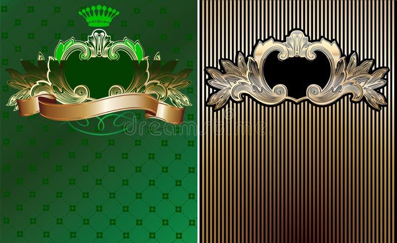 Vert, noir et milieux fleuris d'or. illustration libre de droits