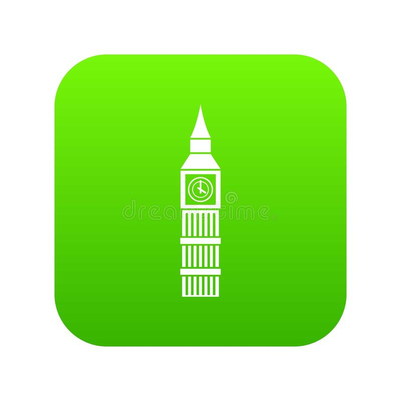 Vert numérique d'icône d'horloge de Big Ben illustration libre de droits