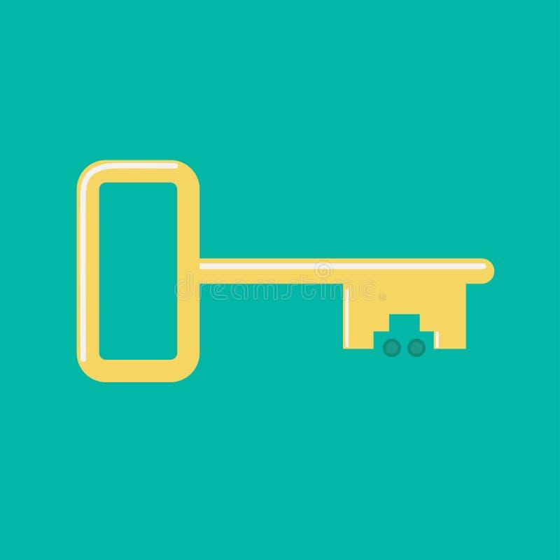 Vert plat de conception de voiture de clé d'icône d'or de roue illustration stock
