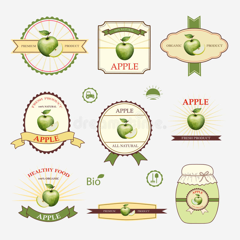 Vert pomme, ensemble de conception de label illustration libre de droits