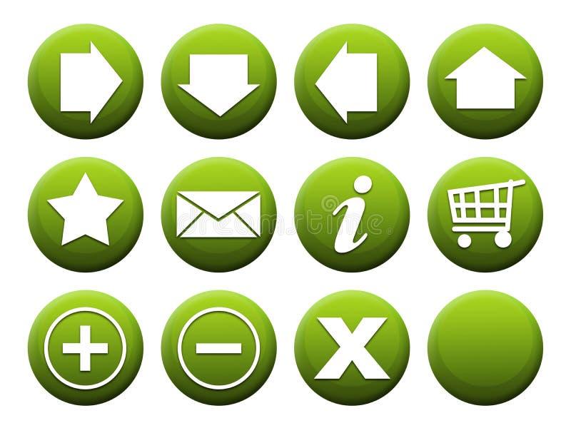Vert réglé de bouton illustration stock
