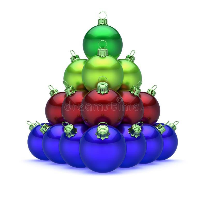 Vert rouge bleu coloré de boules de Noël de pyramide sur le dessus illustration libre de droits