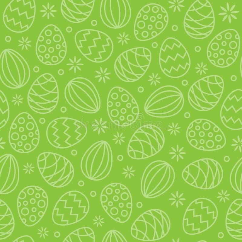 Vert sans couture de fond de vecteur de modèle d'oeufs de pâques illustration libre de droits