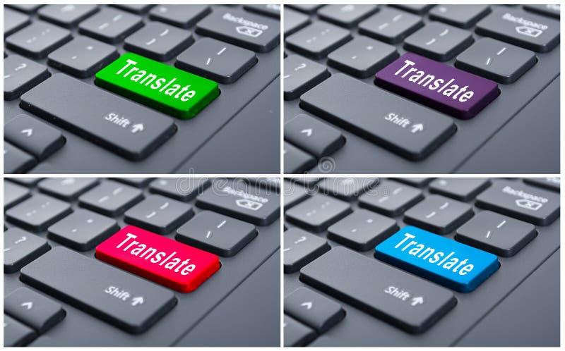 Vertaal computersleutel op laptop stock foto