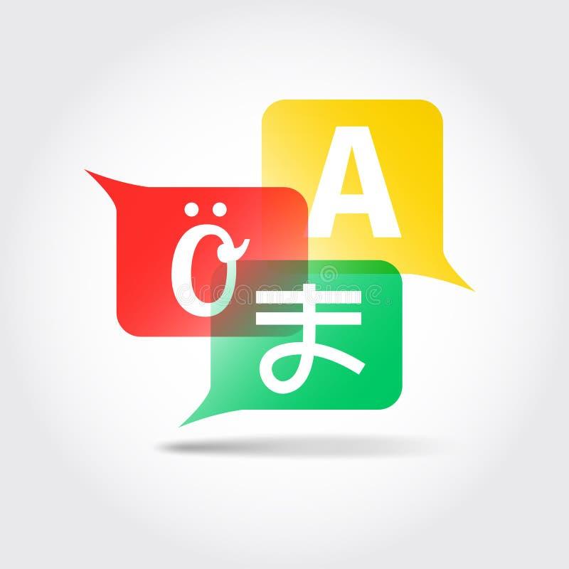 Vertaalpictogram Toespraakbellen met brieven van buitenlands alfabet royalty-vrije stock foto