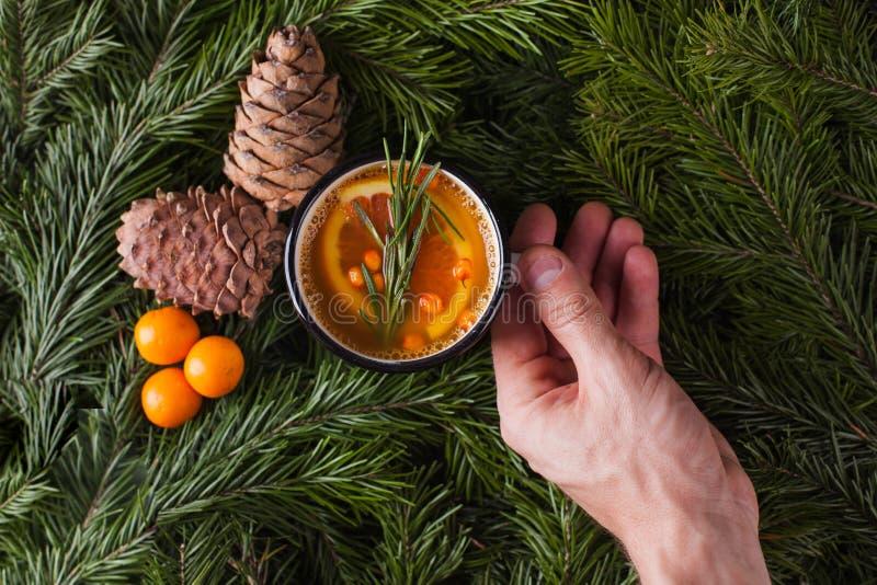 Vertakt de citrusvruchten kruidige thee zich, tak en cederkegels op een donkere achtergrond - de winterachtergrond, die drank voo stock afbeelding