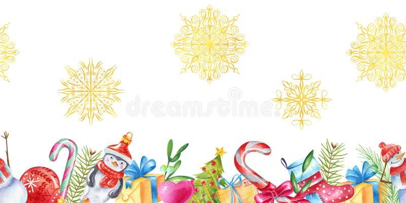 Vertakt de Watercolour naadloze grens zich met Kerstmisstuk speelgoed, sneeuwman, suikergoed, groene bladeren, Kerstboom, gouden  royalty-vrije illustratie