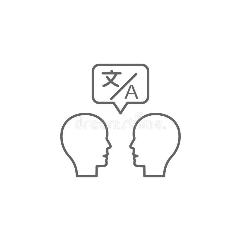 Vertaler, mensen, bellenpictogram Element van vertalerspictogram Dun lijnpictogram voor websiteontwerp en ontwikkeling, app ontwi royalty-vrije illustratie