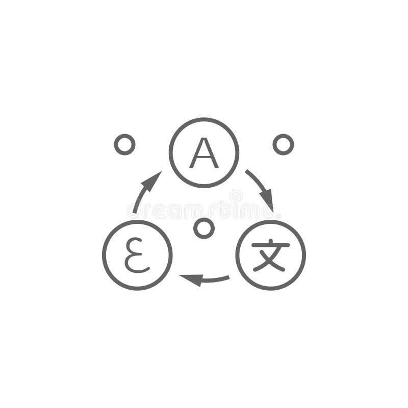 Vertaling, cirkelspictogram Element van vertalerspictogram Dun lijnpictogram voor websiteontwerp en ontwikkeling, app ontwikkelin royalty-vrije illustratie