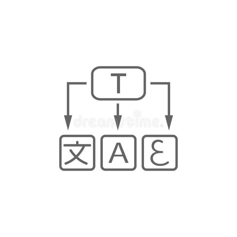 Vertaling, woordenpictogram Element van vertalerspictogram Dun lijnpictogram voor websiteontwerp en ontwikkeling, app ontwikkelin royalty-vrije illustratie