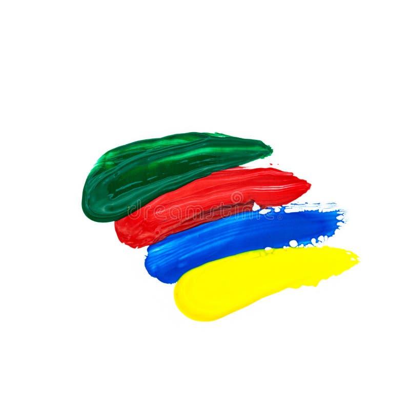 verte, rouge, bleu, la brosse de jaune frotte la peinture à l'huile d'isolement sur le blanc photographie stock