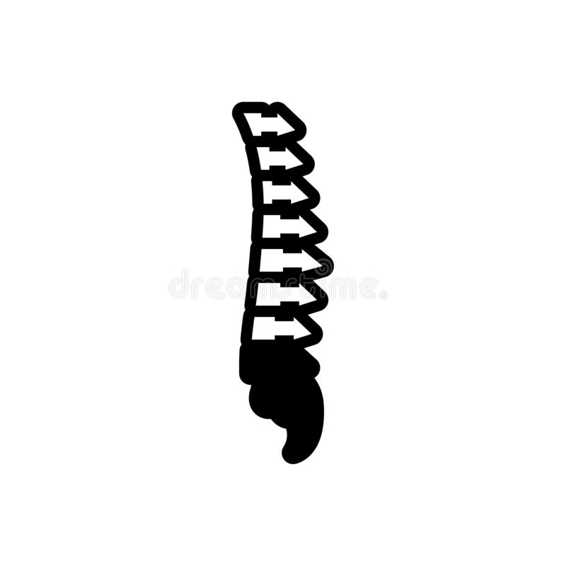 Black solid icon for Vertebra, anatomy and backbone. Black solid icon for Vertebra, rehabilitation, scoliosis, spinal, pain,  anatomy and backbone stock illustration