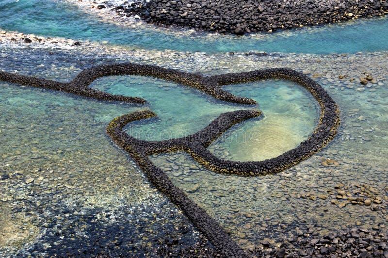 Vertedero de marea de la piedra gemela de los corazones en Chimei Taiwán fotografía de archivo libre de regalías