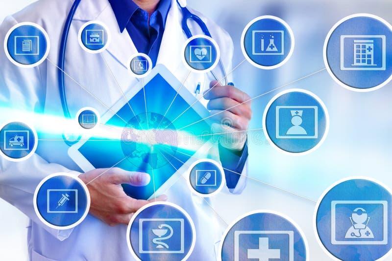 Vertegenwoordigings communicatie gebieden van geneeskunde en globalizatio royalty-vrije stock afbeeldingen