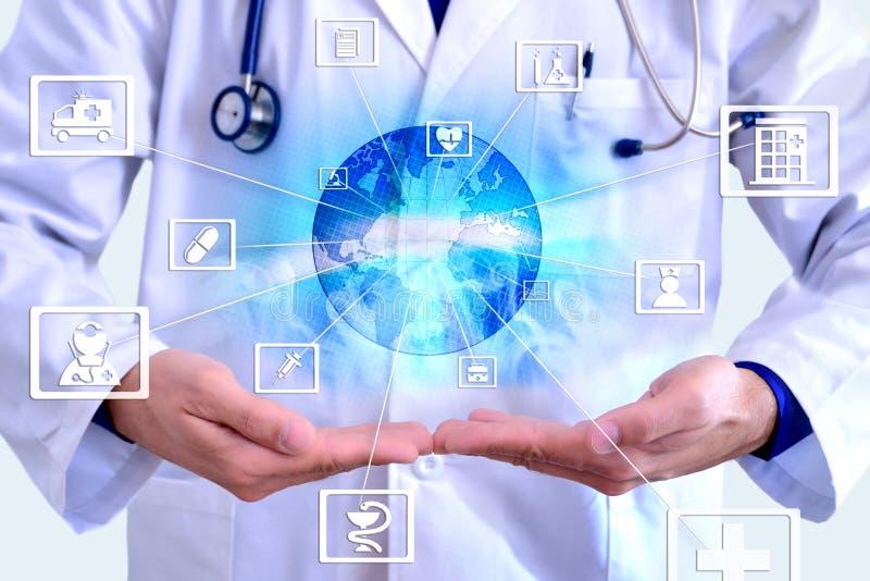 Vertegenwoordigings communicatie gebieden van geneeskunde en globalizatio royalty-vrije stock foto