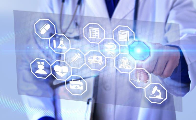 Vertegenwoordigings communicatie gebieden van geneeskunde futuristische repre stock foto