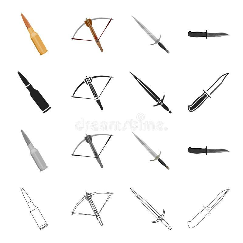 Verteidigung, Armee, Bewaffnung und andere Netzikone in der Karikaturart Kälte, Waffen, Krieg, Ikonen in der Satzsammlung lizenzfreie abbildung