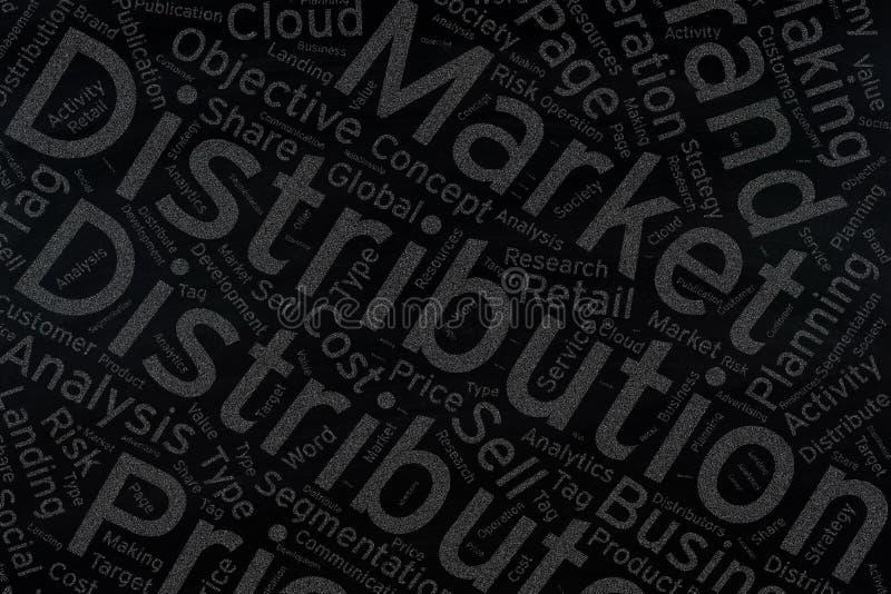 Verteilung, Wortwolkenkunst auf Tafel stockbilder