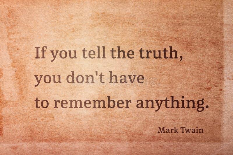 Vertel de waarheid Twain royalty-vrije stock foto