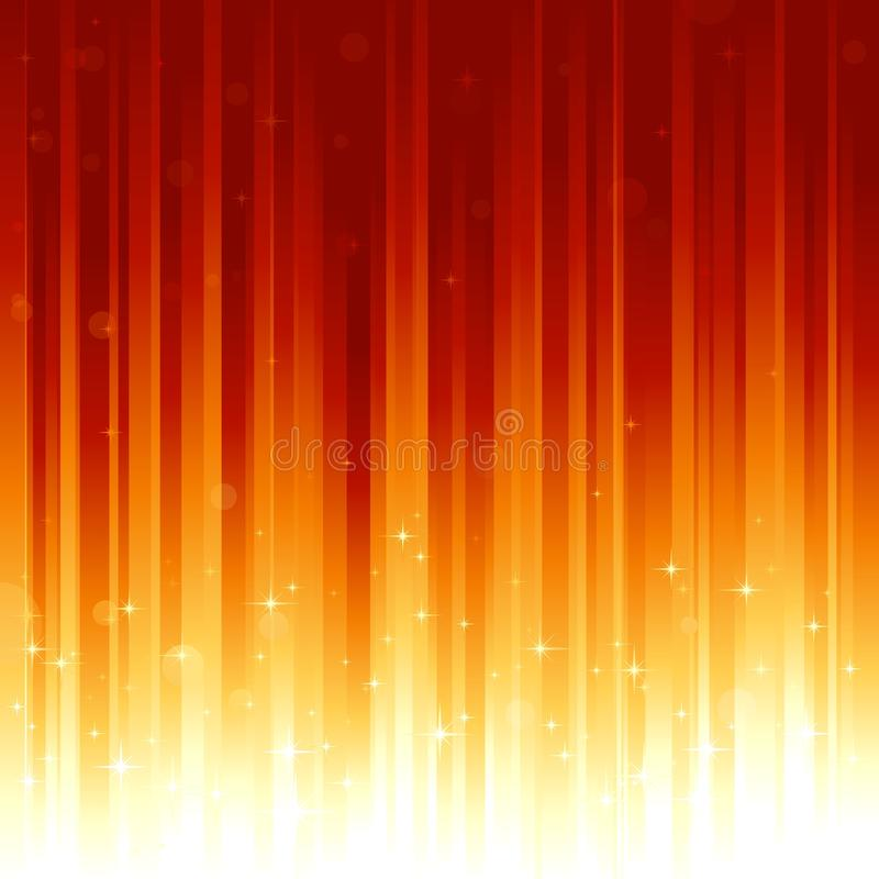 verti rouge-clair d'or d'étoiles de points defocused illustration libre de droits