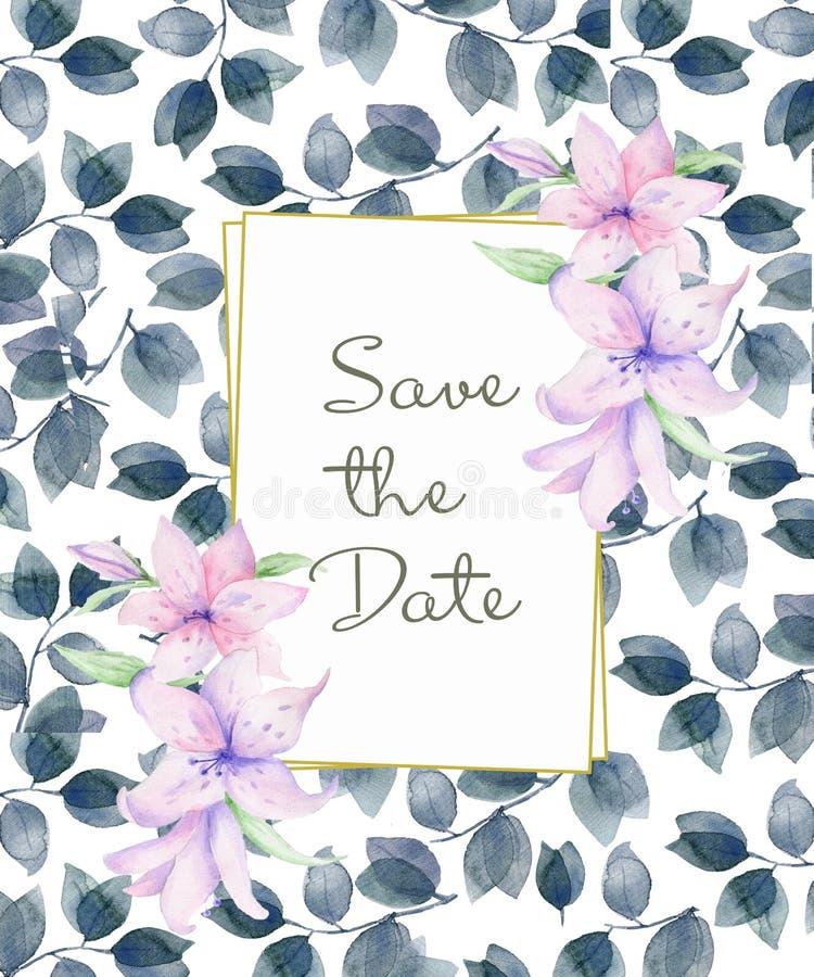 Verticaal Bloemenkader met roze rozen en decoratieve bladeren Het ontwerp van de waterverfuitnodiging Achtergrond om de datum te  royalty-vrije illustratie