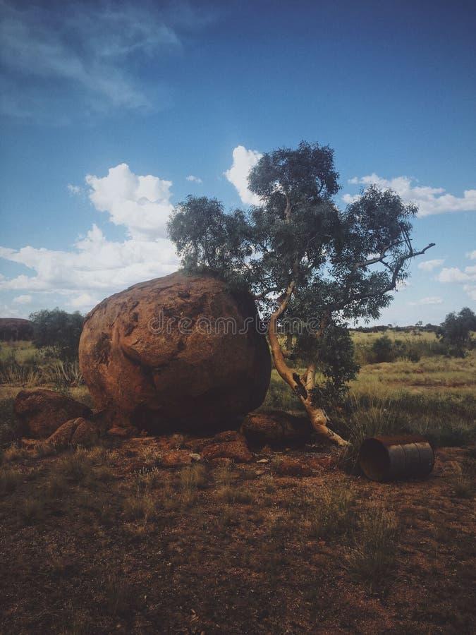 Verticaal die van een grote ronde rots dichtbij een boom wordt geschoten en een metaalvat op een droog grasgebied stock foto