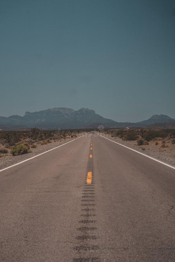 Verticaal die van een wegweg wordt geschoten die door de woestijn met bergen op de achtergrond gaan stock foto's