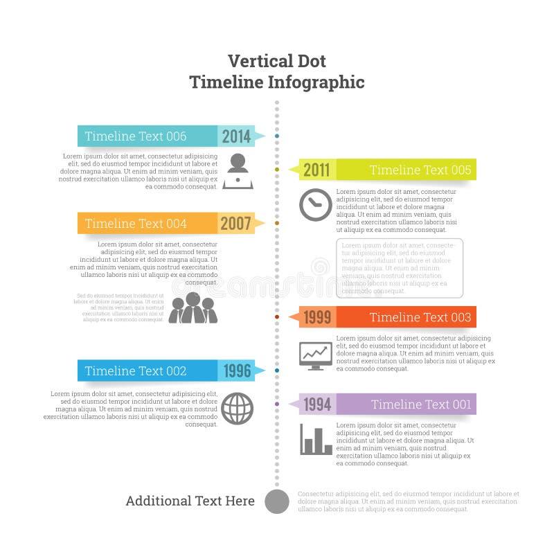 Verticaal Dot Timeline Infographic stock illustratie