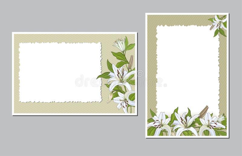 Verticaal en horizontaal geplaatste prentbriefkaaren met witte leliebloemen stock illustratie