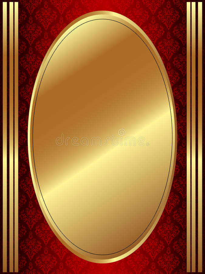 Verticaal gouden ovaal kader vector illustratie