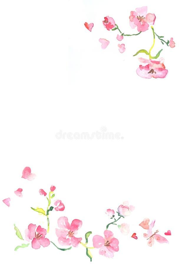 Verticaal kader met waterverfillustratie van roze bloemen en vlinders met ruimte voor tekst stock illustratie