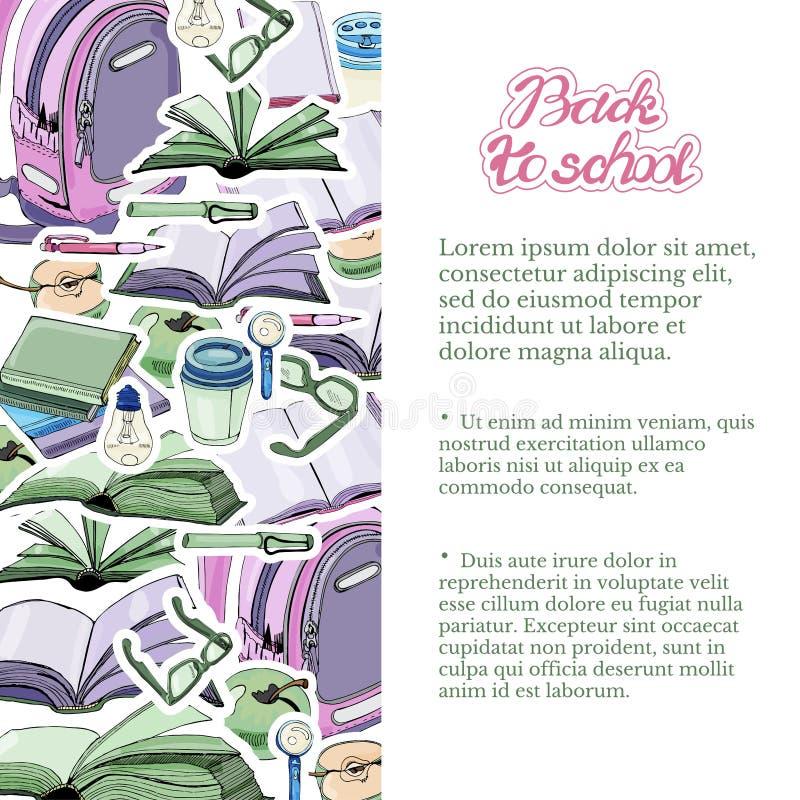 Verticaal malplaatje van hand getrokken inkt en gekleurde schets met boeken en schoolpunten Kleurenstickers op witte achtergrond  royalty-vrije illustratie