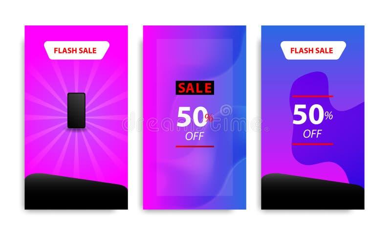 Verticaal modern vloeibaar bannermalplaatje met kleur van de gradiënt de blauwe, roze, purpere schemering voor verkoopbevordering stock illustratie
