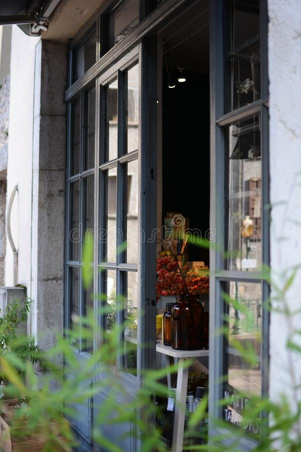 Verticaal schot van een helft-geopend venster van een huis met een eerlijke tuin royalty-vrije stock afbeelding