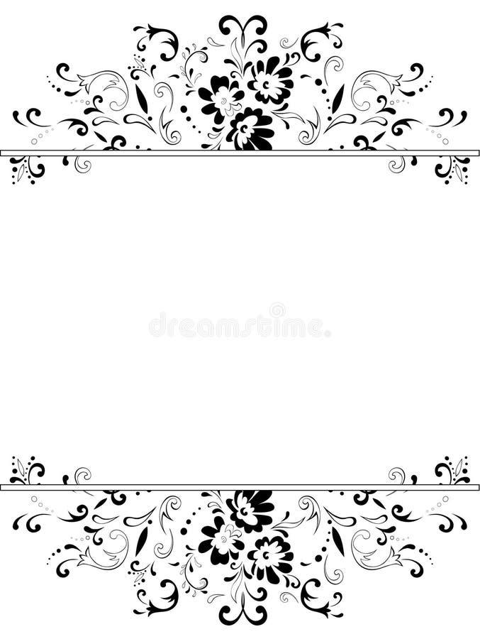 Verticaal uitstekend bloemenframe stock illustratie