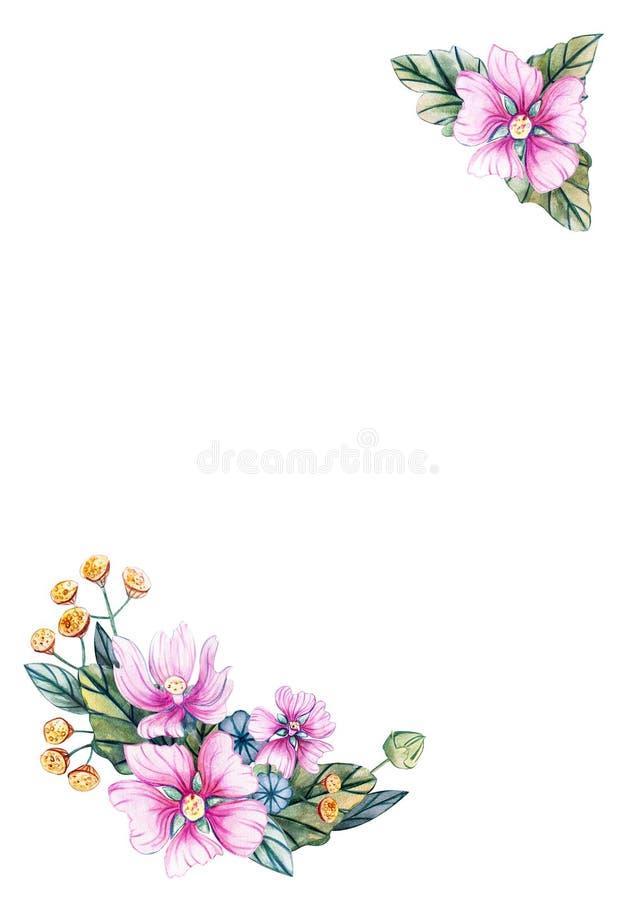 Verticaal vakantiemalplaatje voor tekst met bloemen stock illustratie