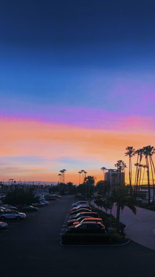 Verticaal van de parkeerplaats dichtbij het strand in Marina del Rey, Californië wordt geschoten dat royalty-vrije stock fotografie